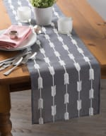 Gray Base Embroidered Arrow Fletching Table Runner - 4