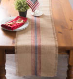 French Blue/Barn Red Middle Stripe Burlap Table Runner 14x108 - 1