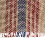 French Blue/Barn Red Middle Stripe Burlap Table Runner 14x108 - 6