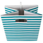 Polyester Cube Pinstripe Teal Square 13x13x13 - 8