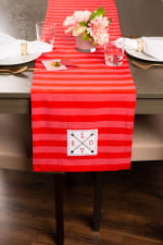 """Valentine's Day Red Crossed Love 108"""" Table Runner - 1"""