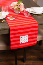 """Valentine's Day Red Crossed Love 108"""" Table Runner - 4"""