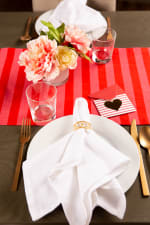 """Valentine's Day Red Crossed Love 108"""" Table Runner - 6"""