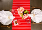 """Valentine's Day Red Crossed Love 108"""" Table Runner - 5"""