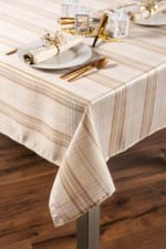 Cream Metallic Plaid Tablecloth 52x52 - 1