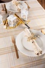 Cream Metallic Plaid Tablecloth 52x52 - 6