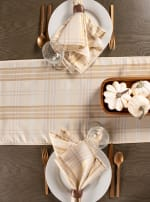Cream Metallic Plaid Table Runner 14x72 - 6