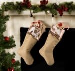 Holiday Stocking Linen With Champagne Sequin Border(Set of 2) - 1