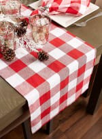 Red and White Buffalo Check Table Runner 14x108 - 5