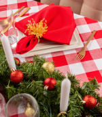 Red and White Buffalo Check Tablecloth 52x52 - 1