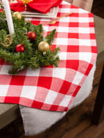 Red and White Buffalo Check Tablecloth 52x52 - 4