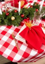 Red and White Buffalo Check Tablecloth 52x52 - 5