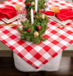 Red and White Buffalo Check Table Topper 40x40 - 4