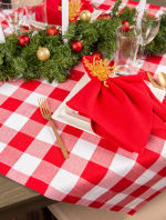 Red and White Buffalo Check Table Topper 40x40 - 7