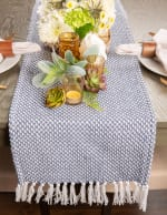French Blue Woven Table Runner 15x72 - 1