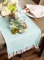 Aqua Chevron Handloom Table Runner 15x72 - 5
