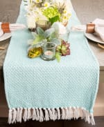 Aqua Chevron Handloom Table Runner 15x72 - 6
