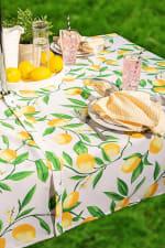 Lemon Bliss Print Outdoor Tablecloth With Zipper 60x84 - 1