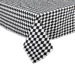 Black and Cream Harlequin Print Tablecloth 60x84 - 3