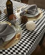 Black and Cream Harlequin Print Tablecloth 60x84 - 5
