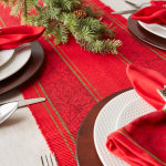 Holly Stripe Jacquard Table Runner 14x108 - 5