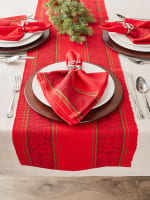 Holly Stripe Jacquard Table Runner 14x108 - 6