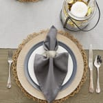 Dove Gray Ribbed Table Runner 13x72 - 4