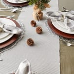 Dove Gray Ribbed Table Runner 13x72 - 8