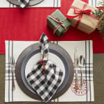 Tango Red Ribbed Table Runner 13x72 - 7