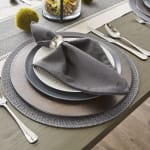 Gray Floral Woven Round Placemat Set/6 - 1