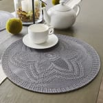 Gray Floral Woven Round Placemat Set/6 - 3