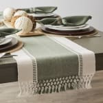 Artichoke Green Dobby Stripe Table Runner 13x72 - 1