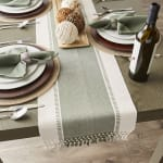 Artichoke Green Dobby Stripe Table Runner 13x72 - 7