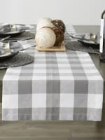 Gray & White Buffalo Check Table Runner 14x108 - 7