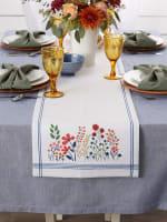 Flower Garden Embellished Table Runner 14x72 - 5