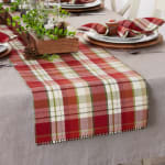 Mountain Trail Plaid Reversible Embellished Table Runner 14x72 - 1