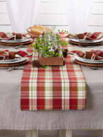 Mountain Trail Plaid Reversible Embellished Table Runner 14x72 - 7