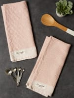 "Washed Waffle Woven Dishtowel Set, 18x28"", Pink Quartz, 2 Pieces - 8"