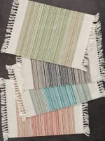 """Thyme Fringed Stripe Placemats, 13x20"""", Set of 6 - 6"""
