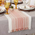 Pimento Striped Fringed Table Runner 14x72 - 8