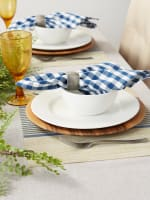 French Blue Middle Stripe PVC Woven Placemat - 7