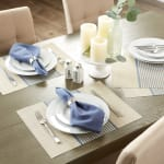 French Blue Middle Stripe PVC Woven Placemat - 8