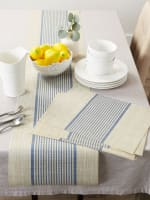 French Blue Middle Stripe PVC Woven Table Runner 14x72 - 1