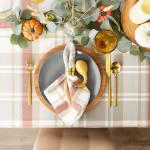"Thanksgiving Cozy Picnic, Plaid Tablecloth 70"" Round - 8"