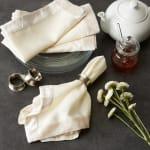 Cream Velvet Trimmed Napkin (Set of 4) - 6