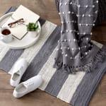 Gray and White Stripe Rag Rug - 7