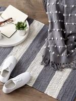 Gray and White Stripe Rag Rug - 9