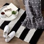 Black and White Stripe Rag Rug - 7
