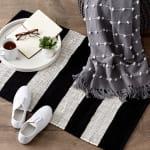 Black and White Stripe Rag Rug - 8