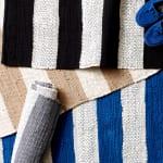 Black and White Stripe Rag Rug - 9